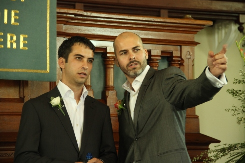 The nervous groom and the best man aka my beaaaauutiful husband.
